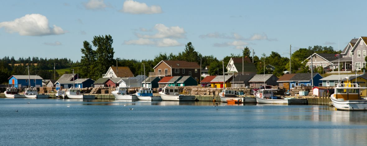 fishing boats and homes in North Rustico PEI