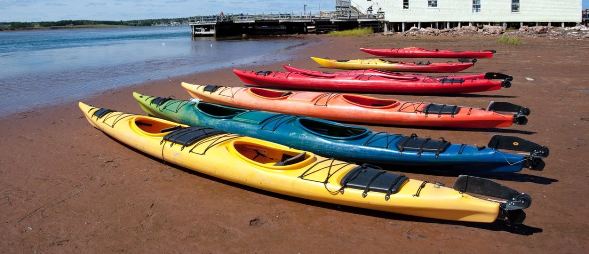 kayaks on shore in North Rustico