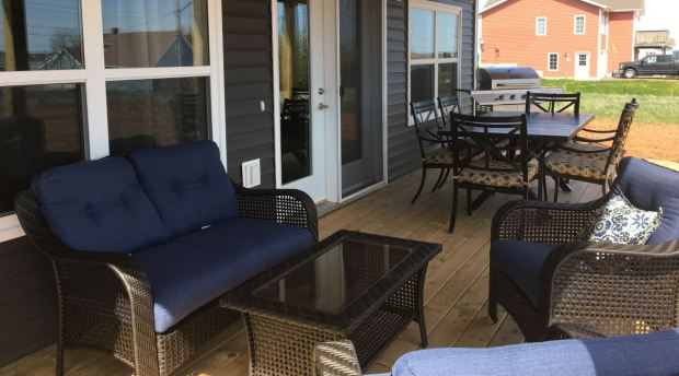 The deck of The Olney House in North Rustico